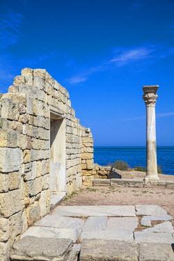 UA02256 Ukraine, Crimea, Sevastopol, Khersoness, The columns and portico of an early Christian church