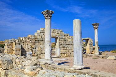 UA02257 Ukraine, Crimea, Sevastopol, Khersoness, The columns and portico of an early Christian church