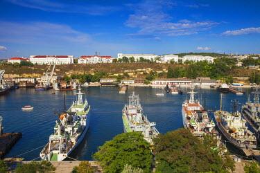 UA02258 Ukraine, Crimea, Sevastopol, View of Russian and Ukrainian Navy vessels in Sevastopol Bay