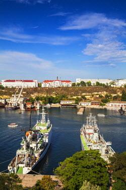 UA02259 Ukraine, Crimea, Sevastopol, View of Russian and Ukrainian Navy vessels in Sevastopol Bay