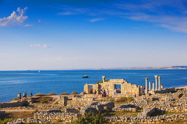 UA02260 Ukraine, Crimea, Sevastopol, Khersoness, The columns and portico of an early Christian church