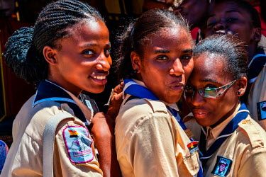 AF02ALA0063 Africa, Angola, Lobito. Female scouts in Lobito.
