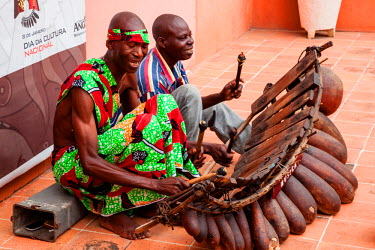 AF02ALA0085 Africa, Angola, Luanda. Men playing traditional marimba xylophone.