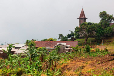 AF07ALA0074 Africa, Cameroon, Buea. View of church on Cameroon Baptist Convention campus.