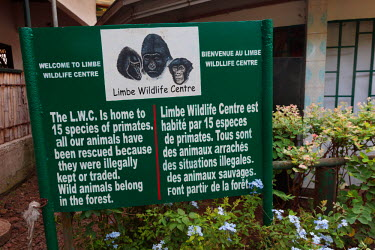 AF07ALA0115 Africa, Cameroon, Limbe. Informational sign at Limbe Wildlife Center.