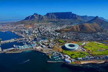 AF42DWA0015 Aerial view of Cape Town Stadium, V & A Waterfront (left), and Table Mountain, Cape Town, South Africa.