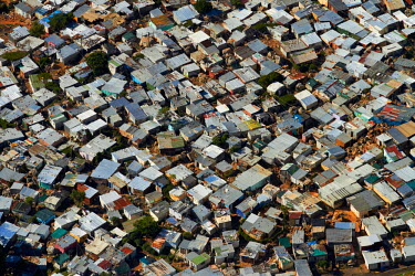 AF42DWA0030 Aerial view of Imizamo Yethu township, Hout Bay, Cape Town, South Africa.