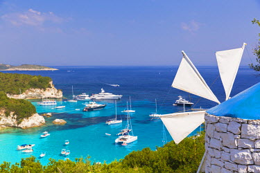 GRE0662AW Western Europe, Greece, Ionian Islands, Paxos, Antipaxos. Elevated view of boats in Voutoumi Bay.