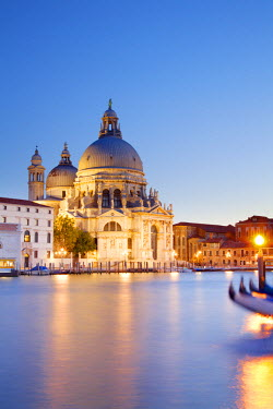 Italy, Veneto, Venice. The Grand Canal in the last evening light with the church of Santa Maria della Salute