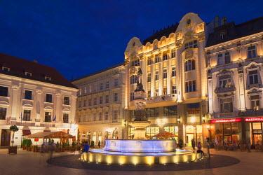 SLV1177AW Hlavne Nam (Main Square) at dusk, Bratislava, Slovakia