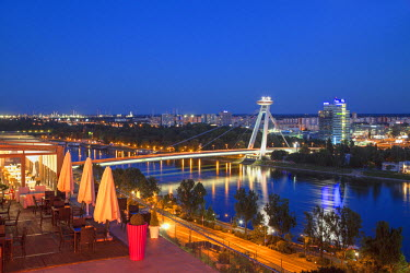 SLV1095AW View of New Bridge from Parliament Restaurant at dusk, Bratislava, Slovakia