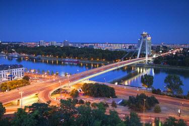 SLV1091AW View of New Bridge at dusk, Bratislava, Slovakia