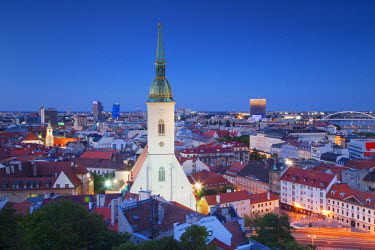 SLV1092AW View of St Martin's Cathedral and city skyline, Bratislava, Slovakia