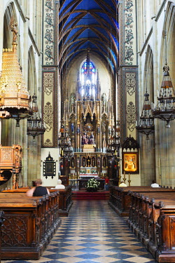 POL1256 Europe, Poland, Malopolska, Krakow, interior of dominican church, Unesco site