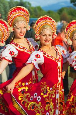 POL1306 Europe, Poland, Carpathian Mountains, Zakopane, International Festival of Mountain Folklore, performers from Romania in traditional costume