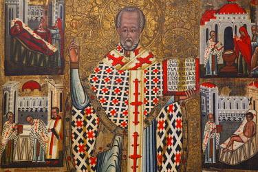 SLV1224AW Icon of St Nicholas in the Icon Exposition, Bardejov (UNESCO World Heritage Site), Presov Region, Slovakia