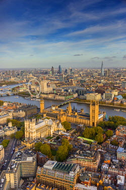 UK10724 Aerial view from helicopter, Houses of Parliament, River Thames, London, England