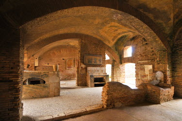 ITA2482AW The Thermopolium in front of the House of Diana, Ostia Antica at the mouth of the River Tiber, Ostia, Rome, Italy