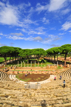 ITA2477AW The Theatre and, in the background, the Market square of Ostia Anticaat the mouth of the River Tiber, Ostia, Rome, Italy