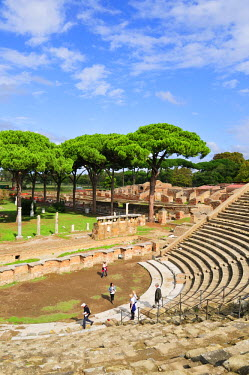 ITA2476AW The Theatre and, in the background, the Market square of Ostia Anticaat the mouth of the River Tiber, Ostia, Rome, Italy