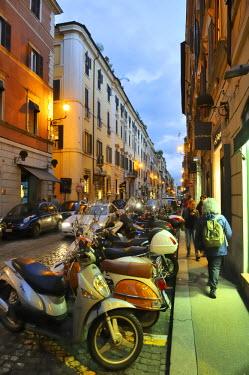 ITA2466AW Via del Babuino at dusk. Rome, Italy