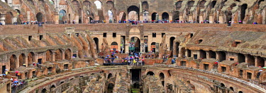 ITA2460AW The Colosseum or Coliseum. The construction began under the emperor Vespasian in 70 AD and was completed in 80 AD under his successor Titus. It could hold between 50,000 and 80,000 spectators. Rome, I...