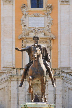 ITA2438AW Equestrian Statue of Marcus Aurelius at the Capitoline Hill. Rome, Italy