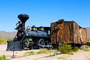 US03JWI0680 USA, Arizona, Tucson, Old Tucson Studios, The Reno locomotive, built 1872.