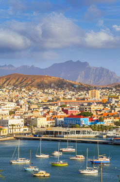 CV01155 View over harbour and Mindelo, Sao Vicente, Cape Verde