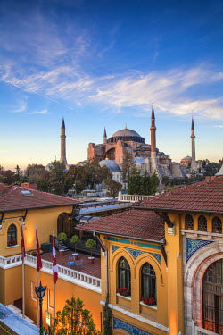 TK01571 Turkey, Istanbul, View of Four Seasons Hotel and Haghia Sophia, - Aya Sofya Mosque