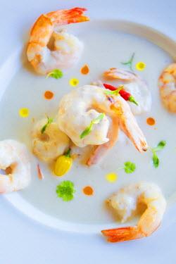 BRA2197AW South America, Brazil, Alagoas, Praia do Patacho, a shrimp seafood dish by Alex Attala trained chef guido migliorino, at the pousada do xue PR