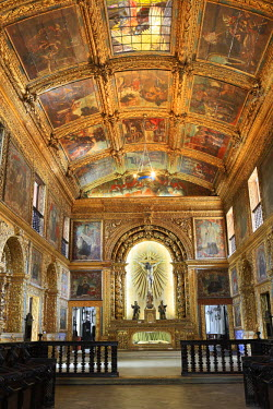BRA2210AW South America, Brazil, Pernambuco, Recife, the interior of the Capela Dourada chapel in the church of the convent of St. Anthony