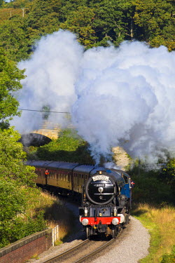 ENG11369AW United Kingdom, England, North Yorkshire, Goathland. The Peppercorn Class A1 steam train, Tornado, passes through Darnholm Curve under full steam on the North Yorkshire Moors Railway.
