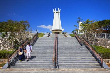 JAP0405AW People at Memorial Peace Park, Okinawa, Japan