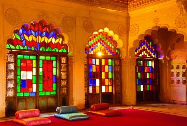 AS10IHO0435 Windows of colored glass, Mehrangarh Fort, Jodhpur, Rajasthan, India.