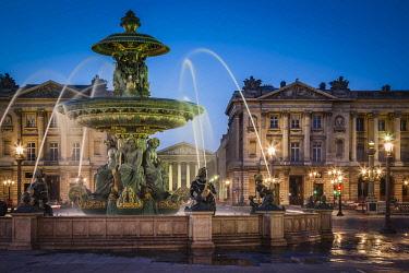 EU09BJN0911 Fontaine des Fleuves (Fountain of Rivers) at Place de la Concorde with L'eglise Sainte-Marie-Madeleine beyond, Paris, France.