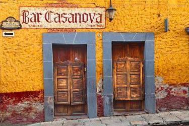 SA13BJA0380 Mexico, San Miguel de Allende. Exterior of Bar Casanova.