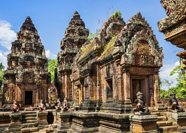 CMB1361 Cambodia, Banteay Srei, Siem Reap Province. Discovered by the French in 1914, Banteay Srei is an exquisite 10th century ruins of a Hindu temple. Its special charm is its small size and remarkable stat...
