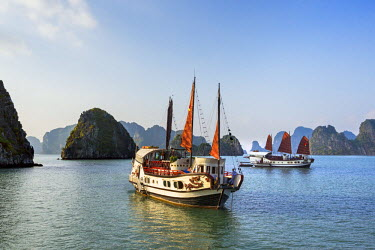 VIT0303 Vietnam, Quang Ninh Province, Ha Long Bay. Tourist junks anchored among the two thousand limestone Karst islands in Ha Long Bay - a spectacular World Heritage Site.