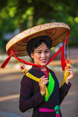 VIT0320 Vietnam, Bac Ninh Province, Dinh Bang. A Quan Ho singer in traditional costume. Quan Ho Vietnamese folk music dates back to the 13th century.
