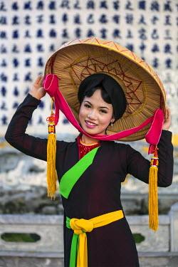 VIT0322 Vietnam, Bac Ninh Province, Dinh Bang. A Quan Ho singer in traditional costume. Quan Ho Vietnamese folk music dates back to the 13th century.