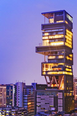 IND7526AW India, Maharashtra, Mumbai, Kemp's Corner, Antilia aka the Ambani building on Altamont Road, said to be the most expensive private residence in the world