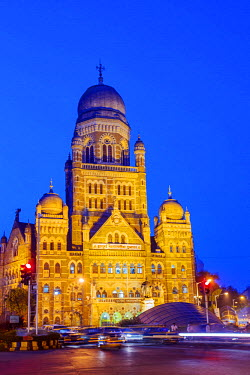 IND7531AW India, Maharashtra, Mumbai, the Brihan Mumbai Mahanagarpalika (Municipal Corporation of Greater Mumbai (MCGM) building by Victorian British architect Frederick William Stevens