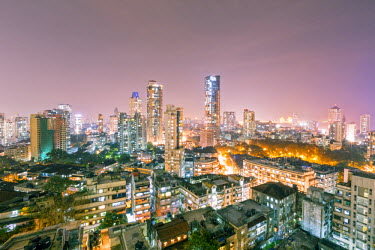 IND7533AW India, Maharashtra, Mumbai, view of the city of Mumbai city centre at night from Kemp's Corner