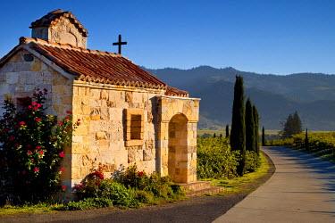 US05BJN0051 Prayer chapel at Castello di Amorosa Vineyards in Napa Valley, California, USA