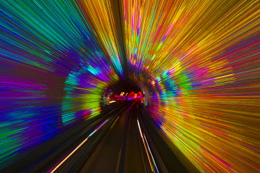 CN03184 China, Shanghai, Bund Sightseeing Tunnel under Huangpu River between Pudong and Huangpu Districts