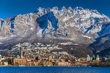 ITA2748AW Winter view of city of Lecco with Mount Resegone in the background, Lake Como, Lombardy, Italy