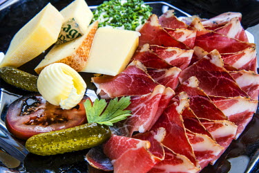 ITA2741AW Traditional speck ham with local cheeses, Alto Adige or South Tyrol, Italy