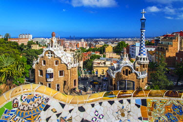 SPA5213AW Entrance of Park Guell city skyline behind, Barcelona, Catalonia, Spain