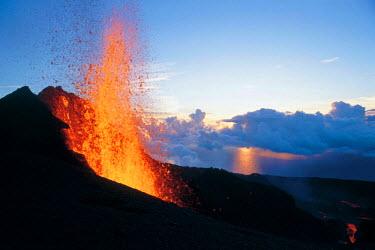 HMS0087850 Reunion island (French overseas department), Parc National de La Reunion (Reunion National Park), listed as World Heritage by UNESCO, Piton de la Fournaise volcano in eruption